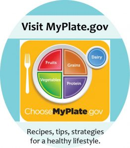 Visit MyPlate.gov for recipes, tips and strategies for a healthy lifestyle
